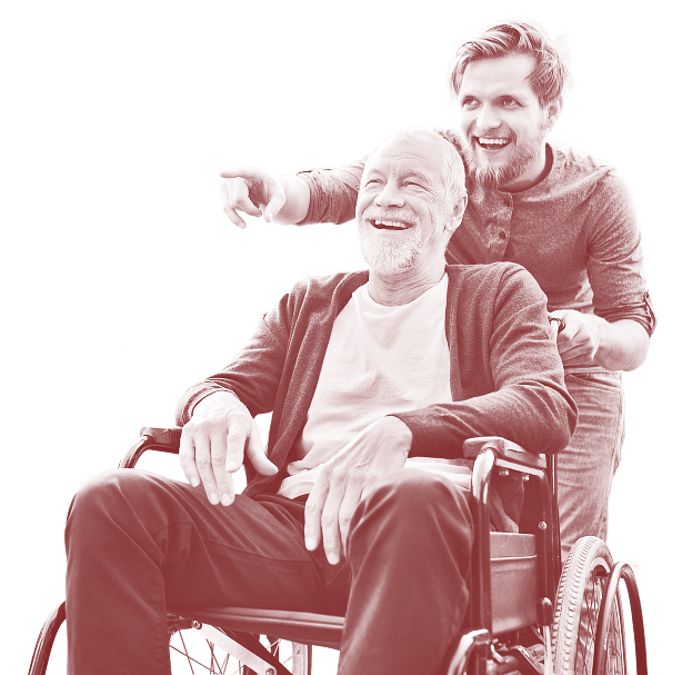 caregiver and a senior man smiling